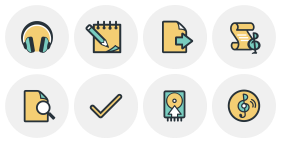 Multi color icon arrangement Icons