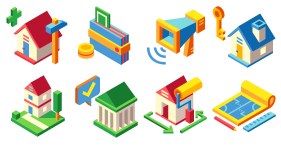 Real estate sales rental real estate theme Icon Icons
