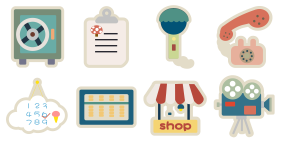 Flat paper wind cute multicolor Icon Icons