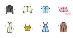 Chart of new clothes in spring Icons