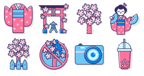 Elements of Japanese Tourism Icons