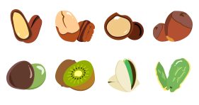 Delicious nut food in spring Icons