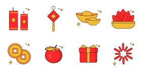 Happy Spring Festival Icons
