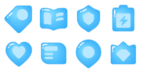 Imitation gradient - multi color block blue Icons