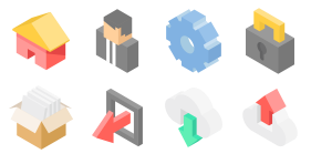 Isometric style system Icon Icons