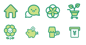 Green plant trade logistics Icons