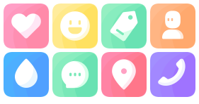 Colored square fillet Icon Icons