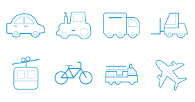 Linear transport Icons